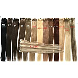 "TRESSMATCH 20"" -22"" Remy Human Hair Weft 7"" Wide (3 Clips) Black Brown Blonde Auburn Red [Weight:30grams/1.1oz]"