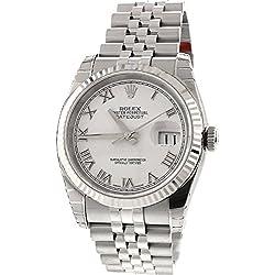 Rolex Datejust 36mm White Roman Dial 18k White Gold Fluted Bezel Jubilee Bracelet Men's Watch 116234