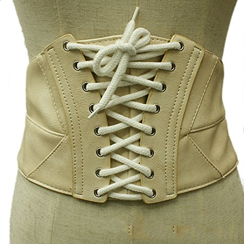 Steampunk Belly Dance Costume (Women's Wide Elastic Waist Belt Stretch Leather Girdle Belt for Dresses Corset Belt Beige)
