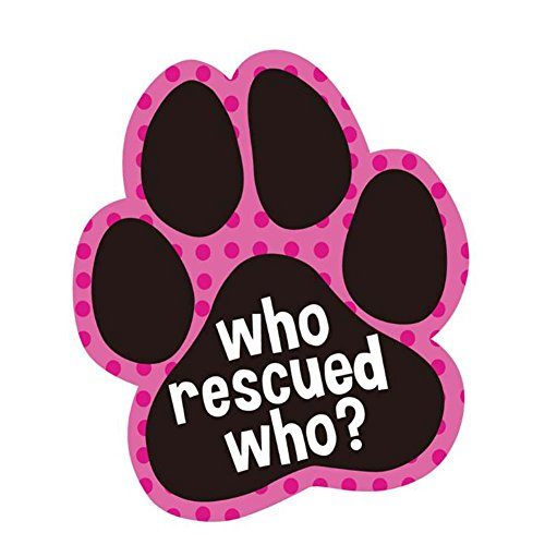 BRUIO Who Rescued Who Small Sticker Cartoon Paw Shaped Car Stickers Waterproof Removable Decal for Car Laptop,5PCS