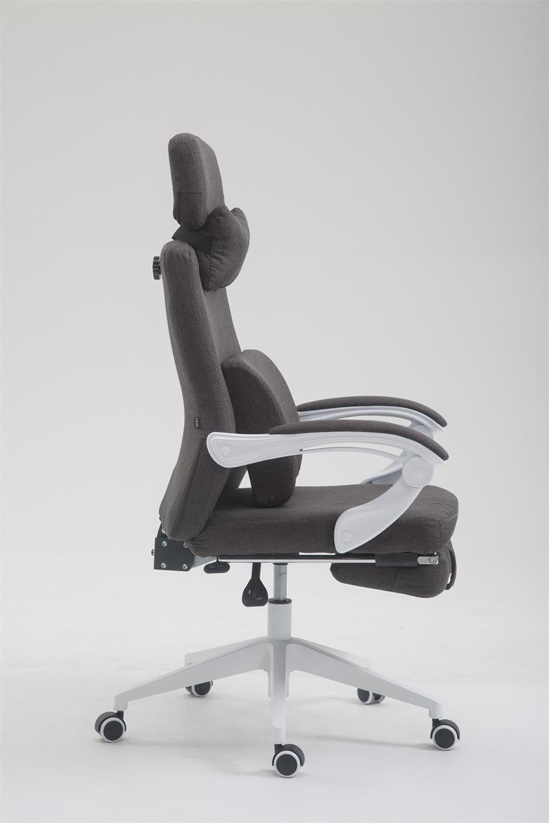 CLP Drehstuhl Byron, Chefsessel mit Verstellbarer Fußablage, Rückenlehne und Kopfstütze, Kopfstütze, Kopfstütze, ergonomischer Bürosessel mit Stoffbezug, stufenlose Sitzhöhenverstellung, Rot 993be0