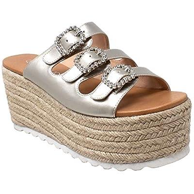SOBEYO Womens Platform Sandals Wedge Flatform Slip On Rhinestone Accent Espadrilles