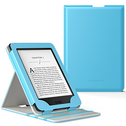 MoKo Case for Kindle Paperwhite, Premium Vertical Flip Cover with Auto Wake/Sleep Fits All Paperwhite Generations Prior to 2018 (Will not fit All-New Paperwhite 10th Generation), Light BLUE