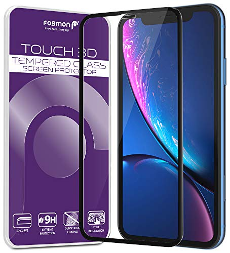 Fosmon iPhone XR Screen Protector, [Touch 3D] HD Clear Full Coverage Tempered Glass, 9H Hardness Oleophobic Coating Glass Shield for Apple iPhone XR, 6.1 (Black)