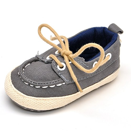 Baby Boat Shoes (Baby Denim Lace-up Crib Shoes Gray US 5)