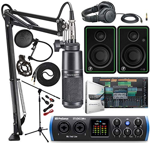 Audio Technica AT2035 Microphone with Shockmount, ATH-M20x, Boom - XLR Cable Streaming/Podcasting Pack And PreSonus Studio 24c 2x2 USB Type-C Audio/MIDI Interface with Mackie CR3-X Studio Monitor Pair