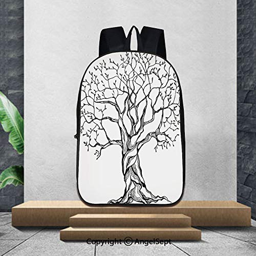(Printed Customized Casual Book Bag,Tree of LifeAged Winter Tree with Curved Body Branches Old Expanding Roots Illustration,16.5