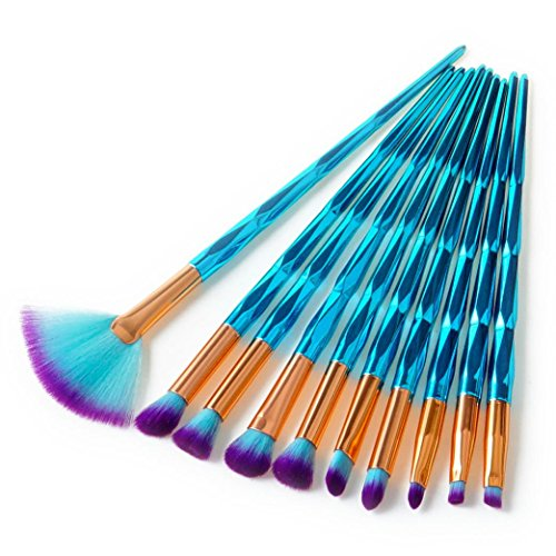 certainPL 10Pcs Diamond Cosmetic Eyebrow Eyeshadow Brush Makeup Brush Sets Kits Tools - Basic Shapes Face