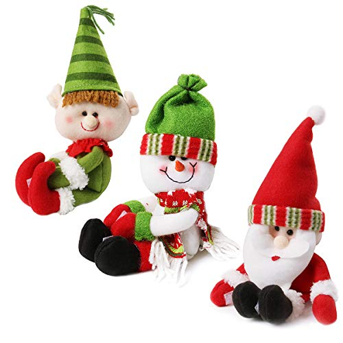 CUSFULL Santa Claus Snowman Lovely Hug Christmas Red Wine Bottle Cover Bags Table Decorations Ornament for Wedding Parties - 3Pcs -