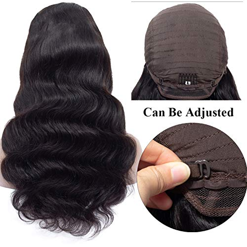 Lace Front Human Hair Wigs 4x4 Closure Lace Wigs Remy Brazilian Hair Body Wave Wig Lace Front Wig with Baby Hair,Natural Color,12inches]()