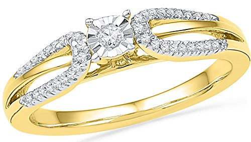 Roy Rose Jewelry 10K Yellow Gold Ladies Diamond Solitaire Open-shank Bridal Wedding Engagement Ring 1/6 Carat tw ~ Size 7 (Ring Shank Open)