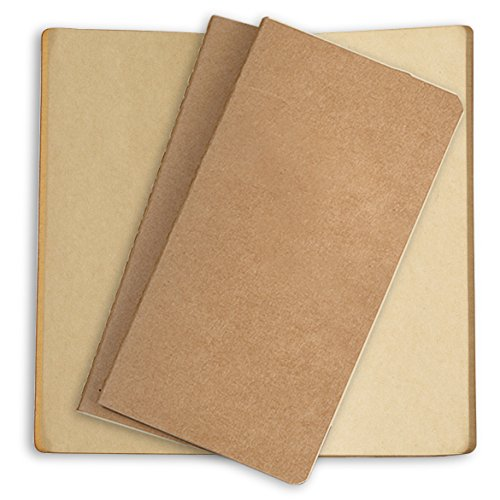 Traveler's Notebook Paper Refill 3 Pack Plain Brown Kraft Inserts for Refillable Leather Journals - 8.25