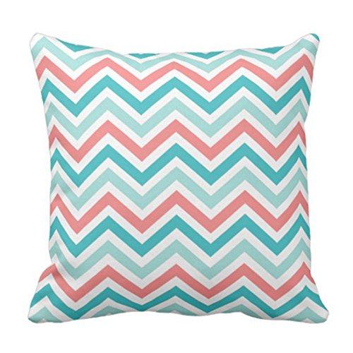 Emvency Throw Pillow Cover Turquoise Coral Aqua Mint Chevron Cool Decorative Pillow Case Home Decor Square 18 x 18 Inch -