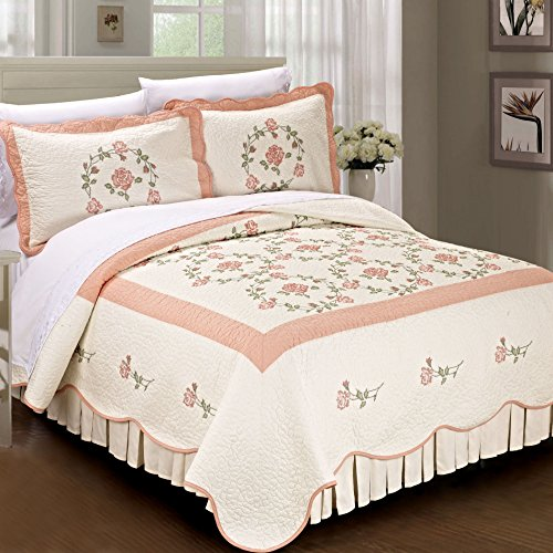 Serenta Classic Flowers 100% Cotton Bedspread Quilt Blanket 3 Piece Bed Set, King, Pink Rose