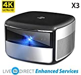 4K Projector, Android TV Enhanced JmGO X3 Home Cinema Projector Native 4K UHD 3D Smart TV Projector Built-in HiFi Stereo