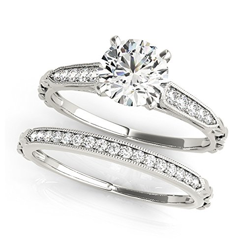 14K White Gold Unique Wedding Diamond Bridal Set Style MT51059