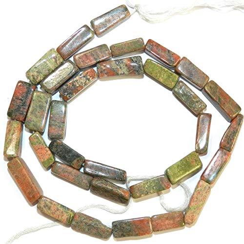 Freeform Square Tube Unakite Gemstone Beads 13