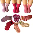 Kakalu 5 Pairs 12-36 Months Baby Girl Upside Down Cartoon Anti-Slip Cozy Ankle Cotton Socks Toddler Walker Non Skid Sneakers Footsocks Shoe Socks Foot Cover With Grips