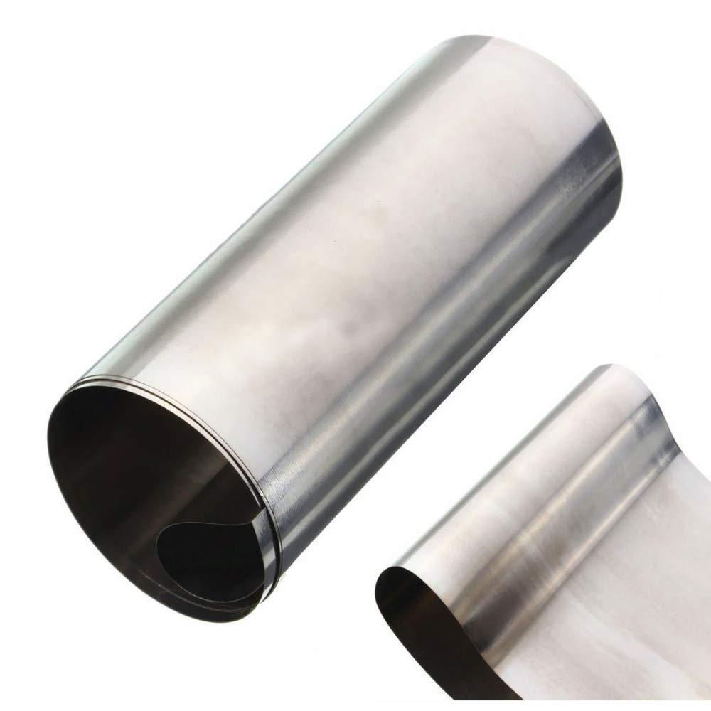 Feuille dacier inoxydable 304 argent/ée en acier inoxydable fine 0,1 mm x 100 mm x 1000 mm pour machines de pr/écision Mayitr
