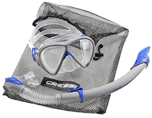 cressi Tauchset BONETE DELUXE 2-Set (Tauchmaske, Schnorchel & Netzbeutel) - Grey/blue