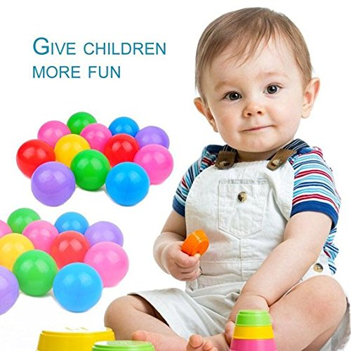 FINGOOO 2.16 Inch Phthalate Free Fun Crush Proof Balls Soft PE Air-Filled Ocean Ball Play Balls Pit Balls for Baby Kids Tunnel/Tent/Pool/Swim Jump House Pack of 200 by FINGOOO (Image #3)