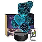 Night Light 3D Teddy Bear 3D Lamp Optical Illusion Kids Night Light Animals 7 Colors Change LED Touch Table Desk Lamps with Remote for Boys Girls Bedroom Birthday Gifts (Teddy Bear)