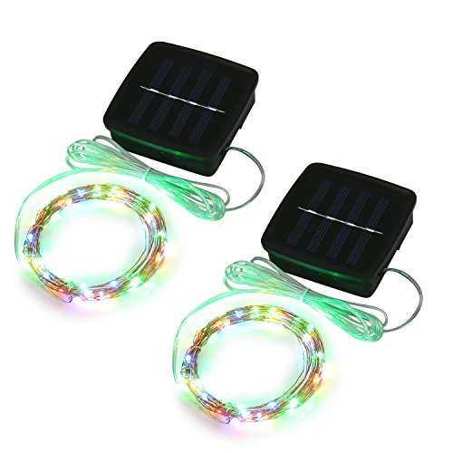 Magicnight Solar Mini Teeny Tiny Lights,Starry String Light for Garden Fairy,Tree,Railing,Arbor,Fence,16 Feet 50LEDs,2 Pack,Multi Colors