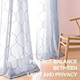 jinchan Blue Sheer Curtains for Living Room Embroidered Wavy Diamond Window Curtains Sheer Window Curtain for Bedroom Drapes 1 Pair 55 x 95 Inch Review