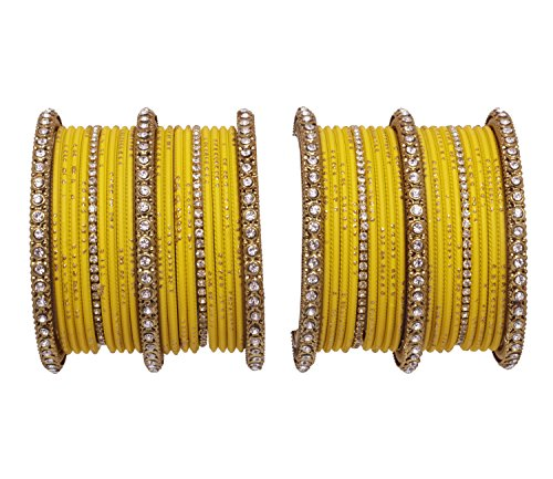 Ratna Yellow color Beautiful Indian Traditional Gorgeous 40 piece bangle set for women wedding bangles Fashion jewellery (2.4) Bangle Yellow Jewelry Set