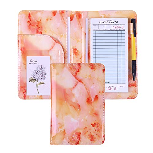 Waitress Book Marble Server Book with Money Pocket Pen Holder Server Book Fit Restaurants Check Presenter Waitstaff Organizer fit Server Apron (Marble Colorful)