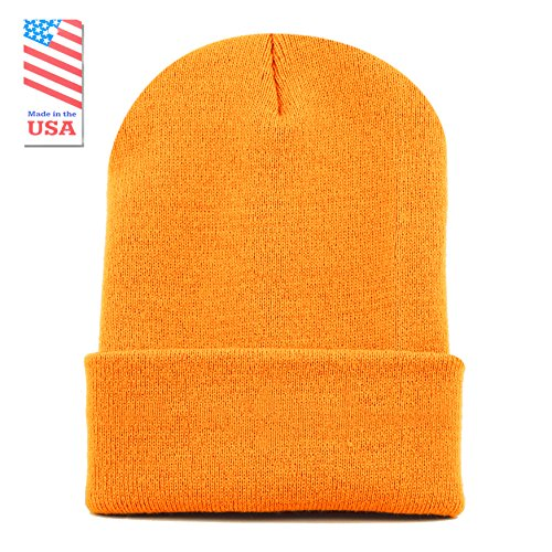 Gold Knit Beanie (The Hat Depot Made In USA Skull Beanie Hat (Gold))