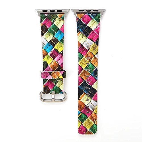 Multicolors Fresh Rainforest Woven Print Apple Watch Band Bracelet Leather Watch Band Apple Watch Accessories Apple Watch Band Series 1 2 3 Apple Watch Accessories Apple Watch - Rainforest Series