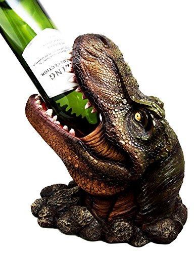 Ebros Large Prehistoric Dinosaur T-Rex Head Wine Bottle Holder 10.75 Tall Caddy Figurine Jurassic Era Trex Statue Kitchen and Dining Decor Party Hosting Prop Tyrannosaurus Rex Dinosaurs
