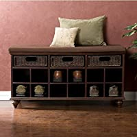 Upton Home Kelly Entryway Espresso Brown Wood Shoe Bench