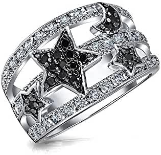 Bling Jewelry Stars and Moon Simulated Onyx Pave CZ Astrology Cocktail Ring