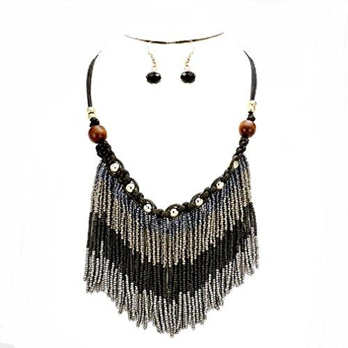 (uniklook Jewelry Tribal Boho Chic Beaded Gray Black Fringe Silver Wood Beads Braided Bohemian Statement Necklace)