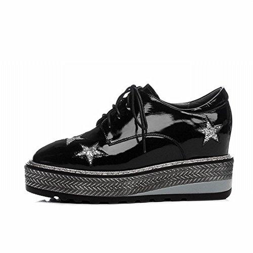 CXY Zapatos de Cuero de Tacón Alto de Primavera, Dentro Y Fuera del Engrosamiento de la Torta de Esponja de Cinco Estrellas Dentro de la Hembra,Negro,37