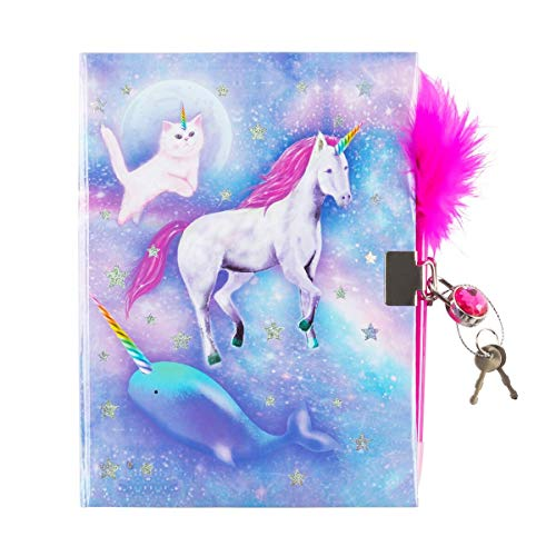 3C4G Celestial Unicorn Dreams Children's Journal with Gem Lock and Feather Pen (36060)