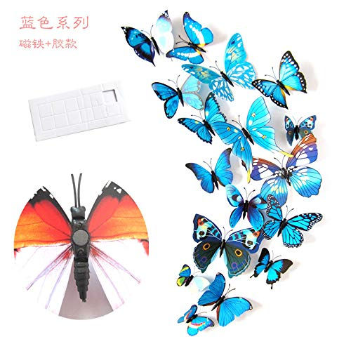 (3D Colorful Butterfly Wall Stickers Wall Decoration 72 Pieces of Detachable Funny Magnet Glue Stickers, DIY Art Decoration Crafts Living Room Bedroom Decoration Set)
