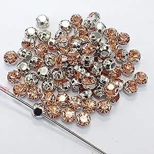 Maslin - Piedras de cristal brillantes para coser (100 unidades, 3,8 mm), color melocotón