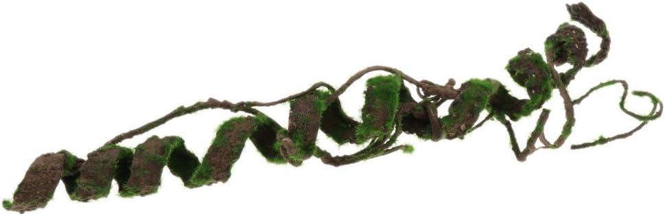 FLAMEER Reptile Terrarium Artificial Plastic Plant Leaves Vines Amphibian Habitat L