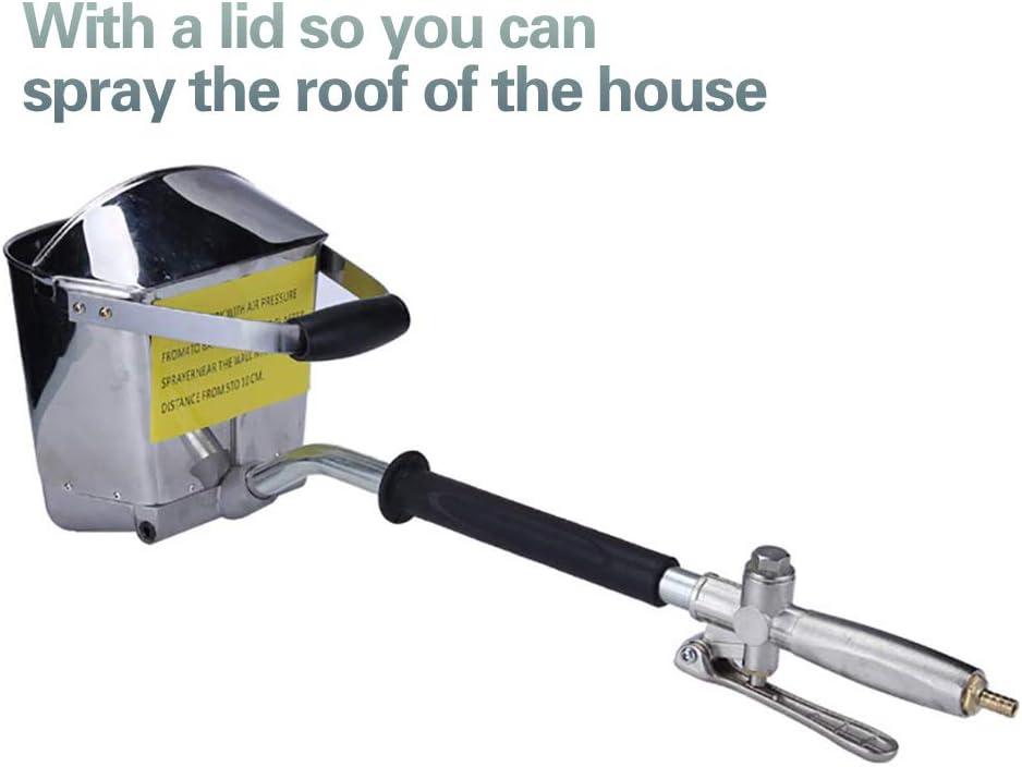 HUKOER Pistola de pulverización de mortero de cemento Pistola de la tolva + Con tapa 4 Jet Hopper Pistola de pulverización de cemento de hormigón Pulverizador de estuco para paredes y techos
