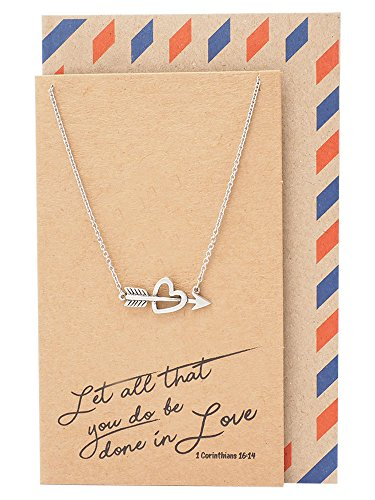 Quan Jewelry Arrow Heart Necklace, Love Pendant Charm, Bible Verse Necklace, Handmade Jewelry with Inspirational Quote Card, Gifts for Best Friend, Christian Necklace, Cupid Heart Pendant, Handcrafted ()