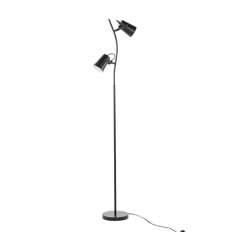 Beliani Moderne Stehlampe In Schwarz Verstellbarer Lampenschirm