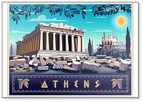 Acropolis Hill In Athens. Drawing Illustration classic fridge magnet