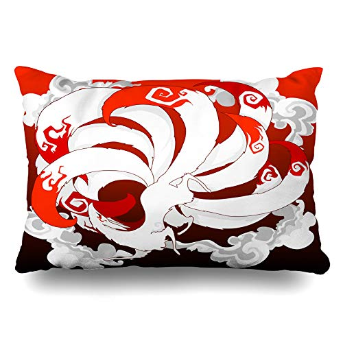 Ahawoso Throw Pillow Cover King 20x36 Inches Free Wild Mascot Nine Red Moon Tail Design Fly Japan Fox Miscellaneous Clouds Fantasy Animal City Decorative Pillowcase Home Decor Cushion Pillow Case