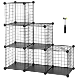 SONGMICS 6-Cube Metal Wire Storage Organizer, DIY Closet Cabinet and Modular Shelving Grids, Wire Mesh Shelves and Rack, Black, ULPI111H