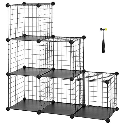 SONGMICS 6-Cube Metal Wire Storage Organizer, DIY Closet Cabinet and Modular Shelving Grids, Wire Mesh Shelves and Rack, Black, (Modular Shelving System)