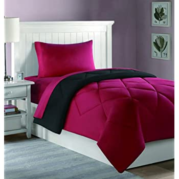 College Dorm Mini Bedding Set: Comforter, Sheets, Pillowcase   4 PC.   Twin  XL (Black/Red)