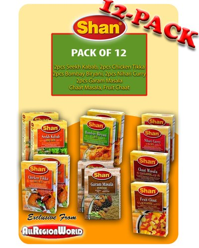 Shan Variety Special Pack Masala Seasoning 1.75oz., 50g (12-Pack) Seekh Kabab, Chicken Tikka, Bombay Biryani, Nihari Curry, Garam Masala, Fruit Chaat, & Chaat Masala Free Recipe Included Exclusive From AllRegionWorld